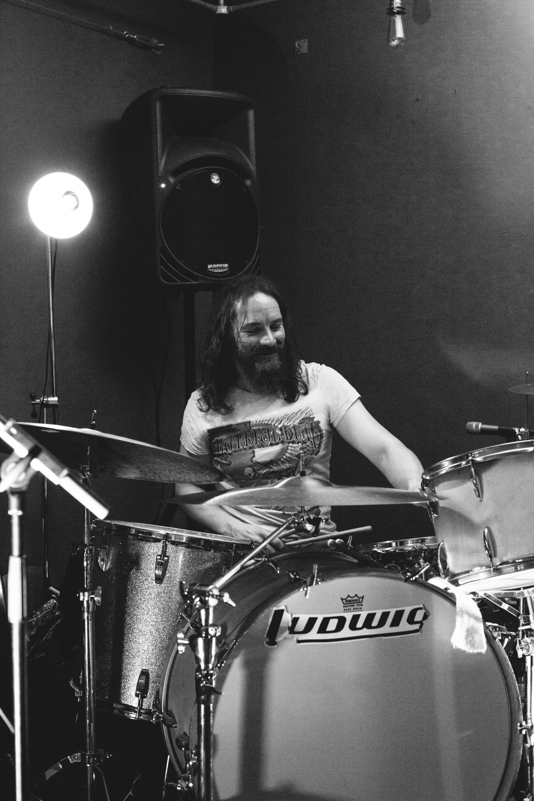 Ryann Snow playing drums