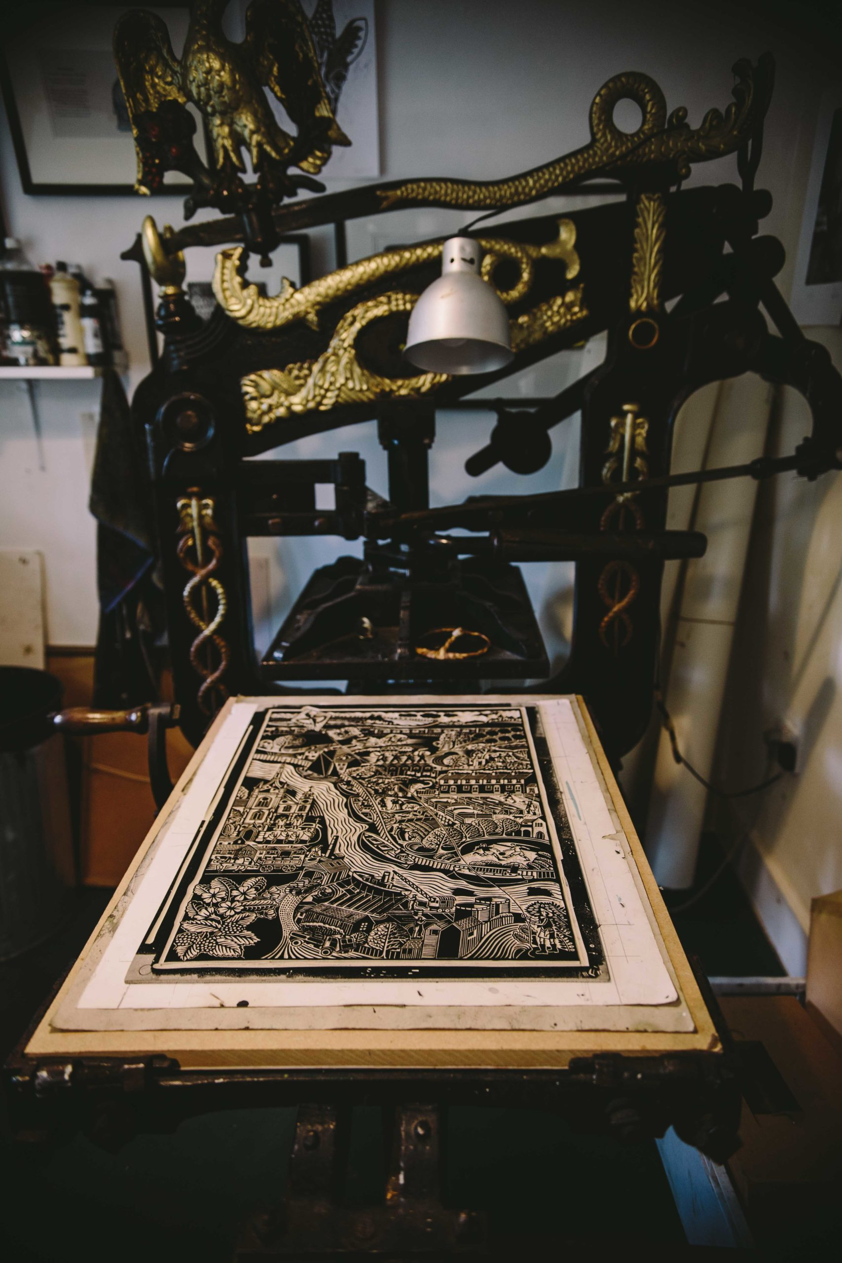 Printing Press with lino cut