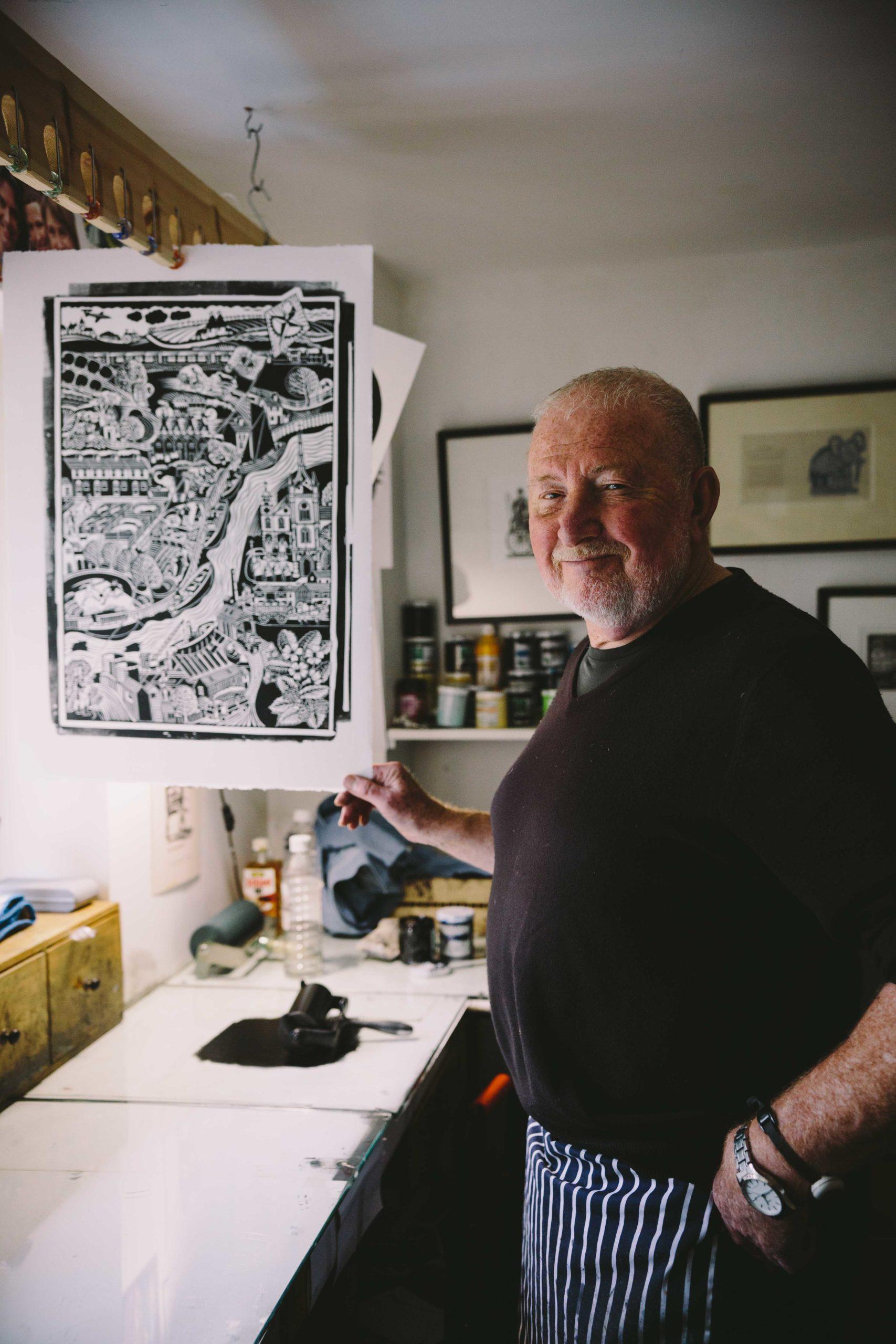 Hugh Ribbons with his lino print