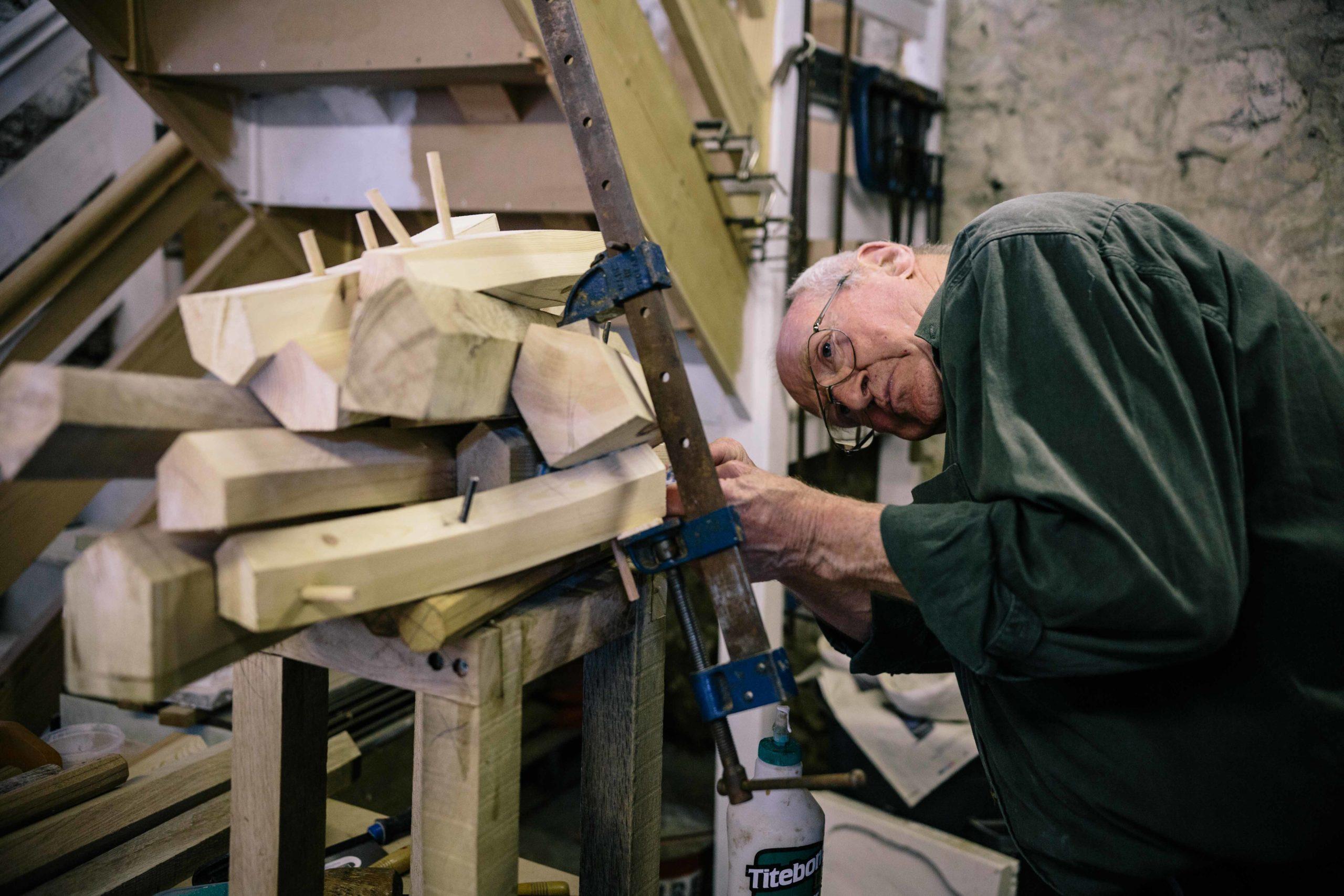David King wood working in his studio