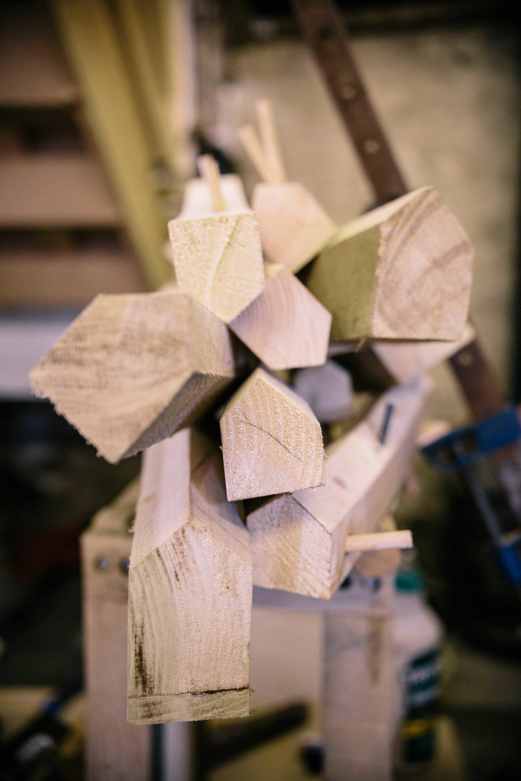 Wooden David King sculpture