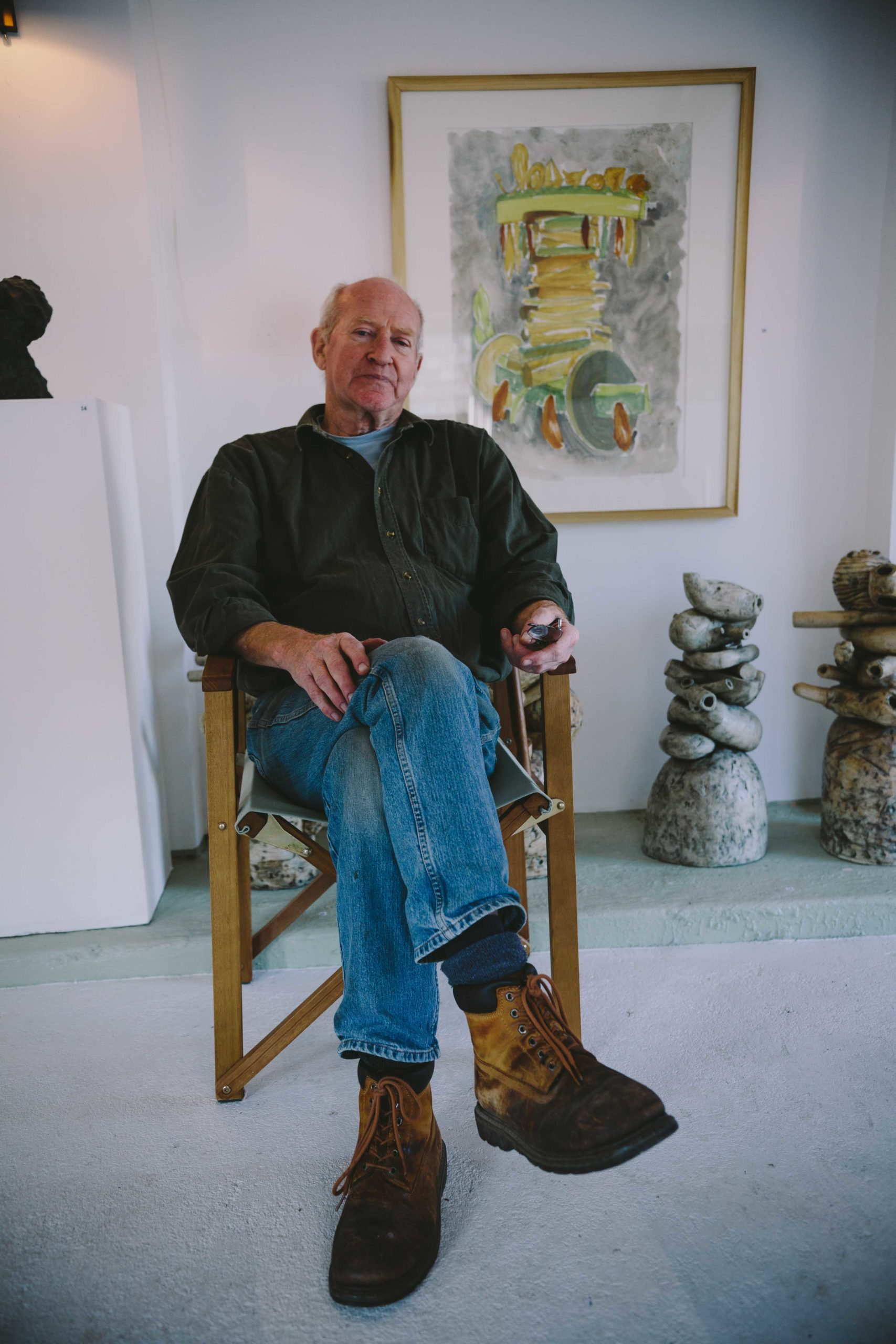 David King sitting in his studio