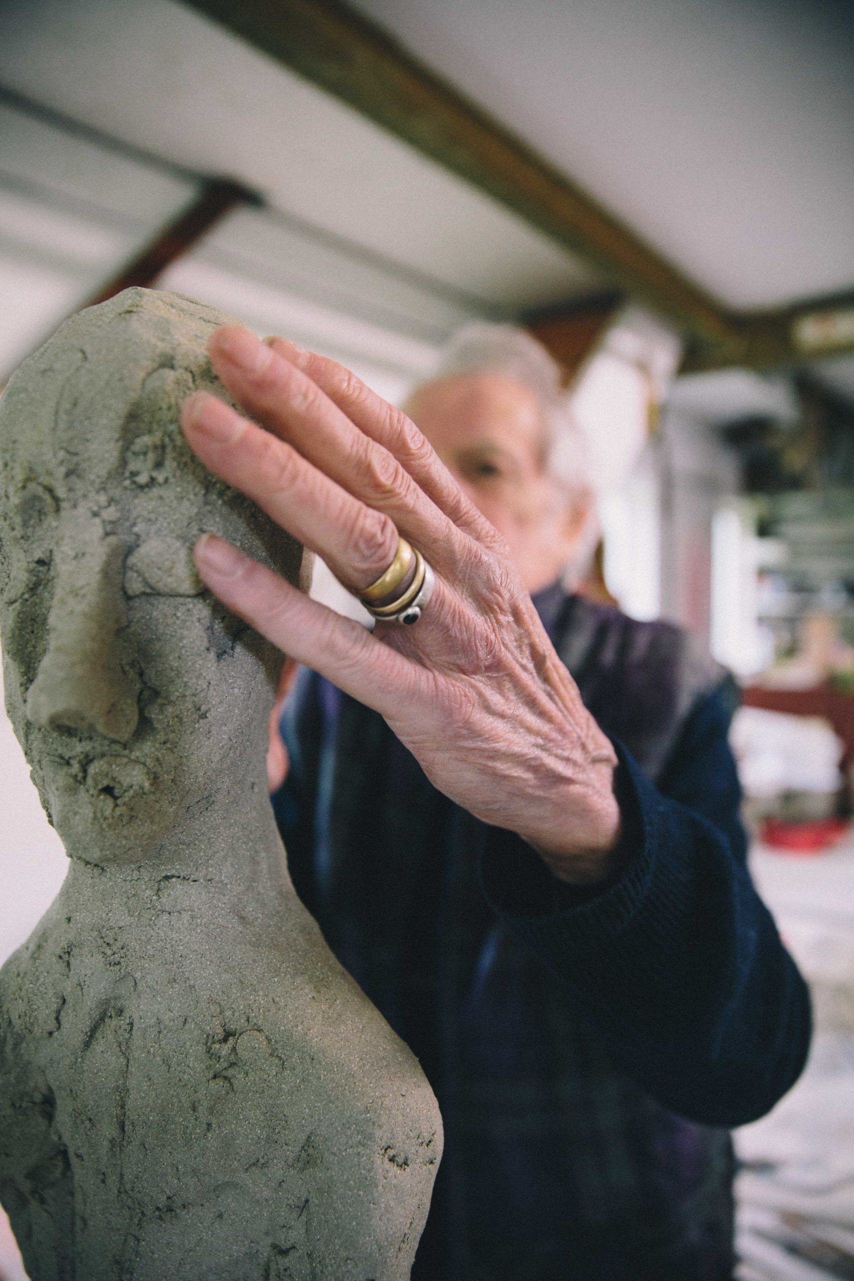Ian Gregory hand sculpting clay