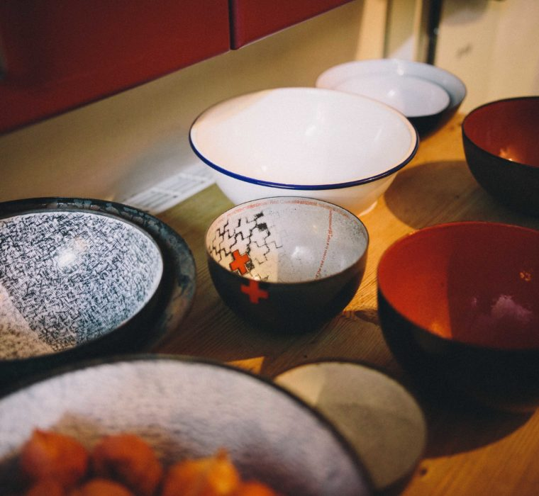 Elizabeth Turrell bowls, white, red and black