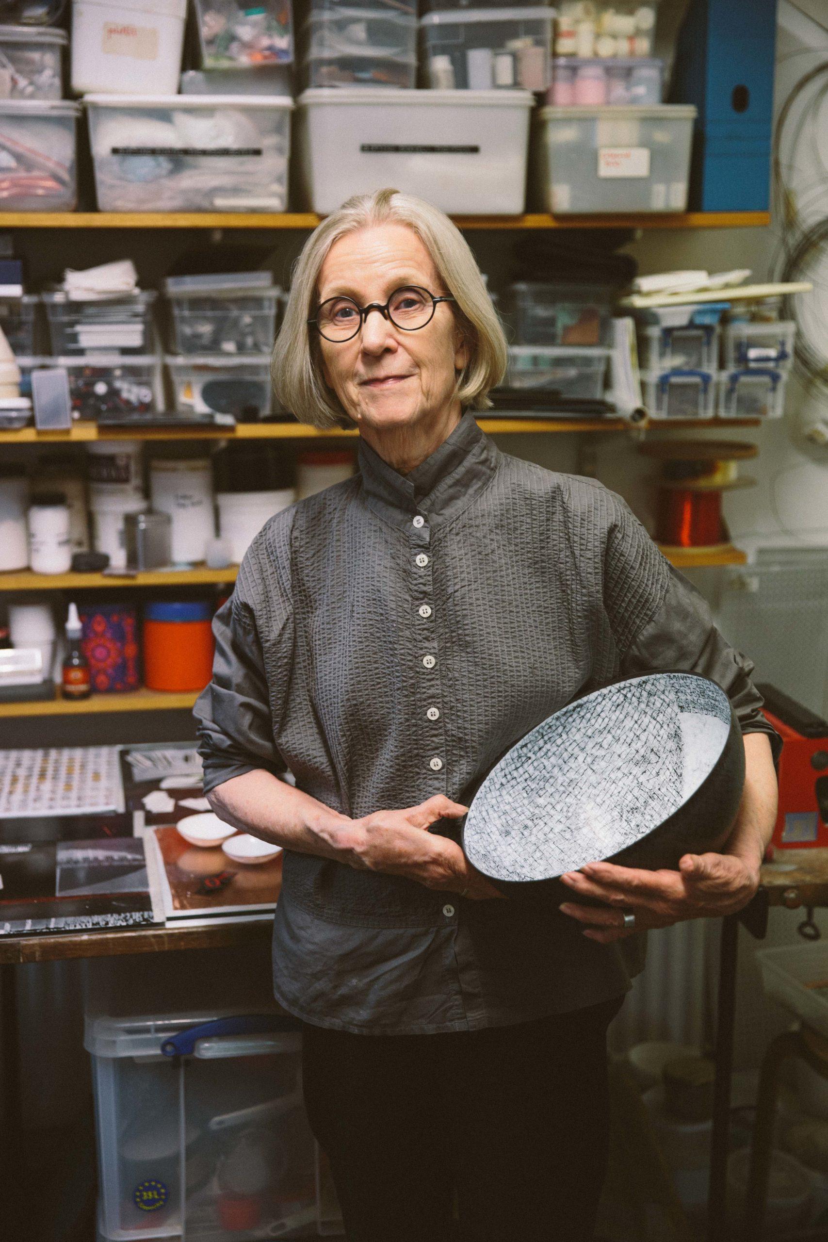 Elizabeth Turrell holding a bowl