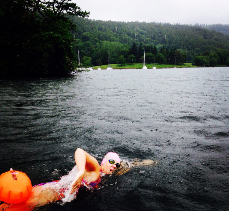 Lisa Lloyd swimming in open water